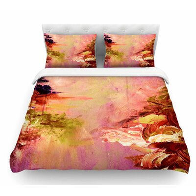 Winter Dreamland by Ebi Emporium Featherweight Duvet Cover Color: Pink/Orange, Size: Queen