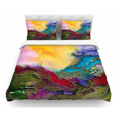 Bring on Bohemia by Ebi Emporium Featherweight Duvet Cover Color: Rainbow/Teal/Yellow, Size: Twin