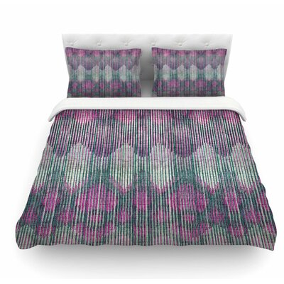 Vintage Ikat by Michelle Drew Featherweight Duvet Cover Color: Pink, Size: Queen