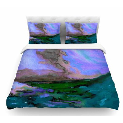 Elevated by Ebi Emporium Featherweight Duvet Cover Color: Teal/Purple/Blue, Size: King
