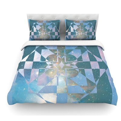 Galactic Hope by Matt Eklund Featherweight Duvet Cover Color: Aqua/Blue, Size: Queen