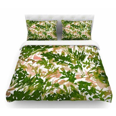 In the Meadow by Ebi Emporium Featherweight Duvet Cover Color: Green/Pink/White, Size: King