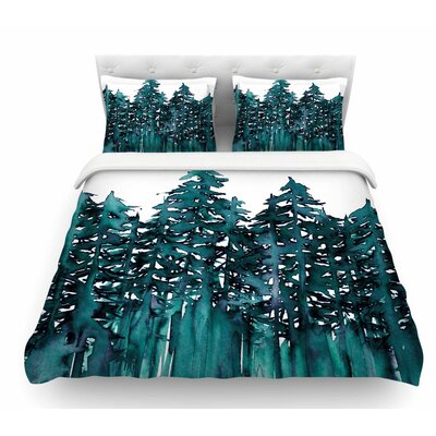 Forest Through the Trees by Ebi Emporium Featherweight Duvet Cover Color: Teal/White, Size: Queen