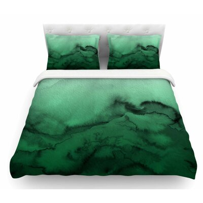 Winter Waves by Ebi Emporium Featherweight Duvet Cover Color: Green/Black, Size: Queen