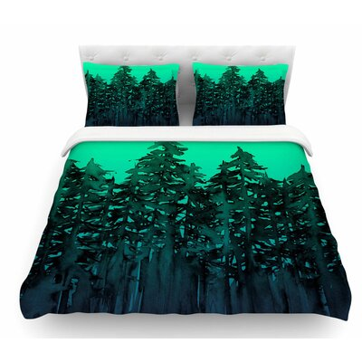 Forest Through the Trees by Ebi Emporium Featherweight Duvet Cover Size: King, Color: Purple/Black