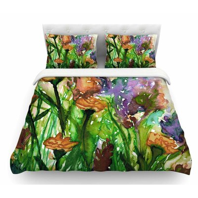 Floral Insurgence by Ebi Emporium Featherweight Duvet Cover Color: Green/Pink, Size: King