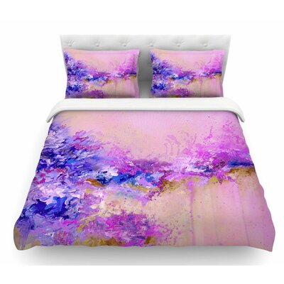 When Land Met Sky by Ebi Emporium Featherweight Duvet Cover Color: Purple/Pink, Size: King