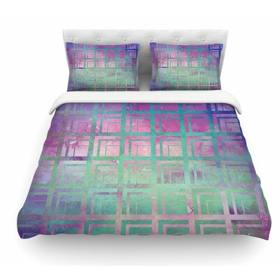Tiled by Matt Eklund Featherweight Duvet Cover Color: Green/Purple, Size: King