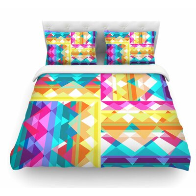 Triangle Checker by Miranda Mol Pastel Featherweight Duvet Cover Size: Queen