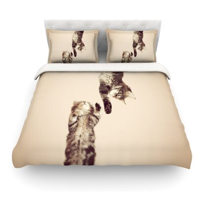 Upside Down by Monika Strigel Cats Featherweight Duvet Cover Size: Queen