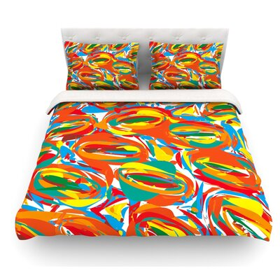 Go Left by Matthias Hennig Featherweight Duvet Cover Size: Twin, Color: Yellow/Red/Blue, Fabric: Lightweight Polyester