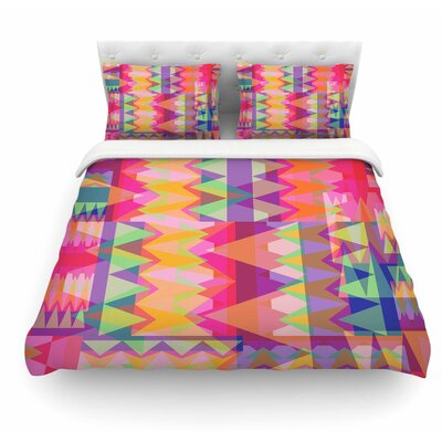 Triangle Fun by Miranda Mol Featherweight Duvet Cover Size: Queen