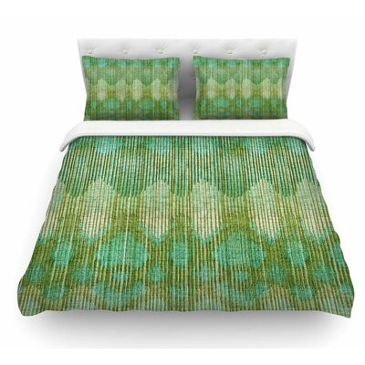 Vintage Ikat by Michelle Drew Featherweight Duvet Cover Color: Green/Gold, Size: Queen
