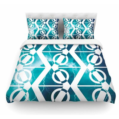 Storm by Matt Eklund Featherweight Duvet Cover Color: Teal/White, Size: Queen
