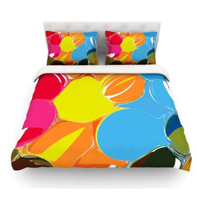 Bubbles by Matthias Hennig Circles Featherweight Duvet Cover Size: Queen, Fabric: Woven Polyester