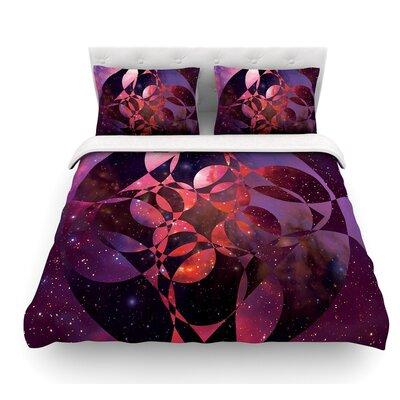 Galactic Brilliance by Matt Eklund Featherweight Duvet Cover Size: Twin, Color: Coral