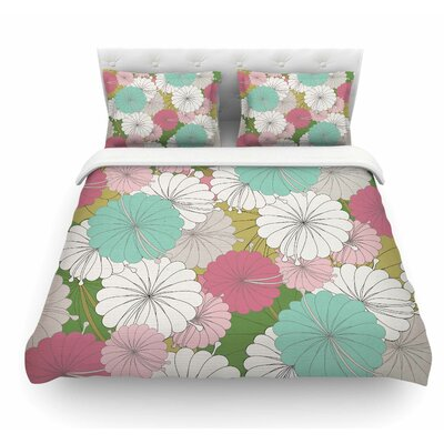 Parasol Flowers by Michelle Drew Pastel Abstract Featherweight Duvet Cover Size: King