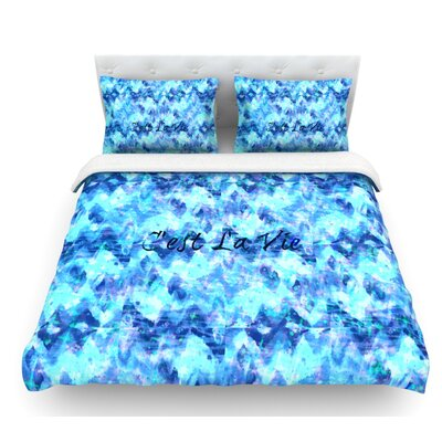 Cest La Vie by Ebi Emporium Featherweight Duvet Cover Size: Queen, Color: Blue/Aqua