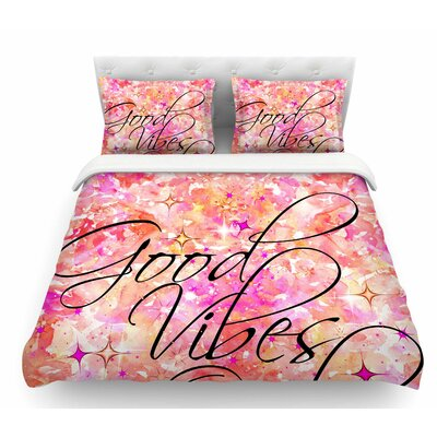Good Vibes Only by Ebi Emporium Featherweight Duvet Cover Color: Pink/Yellow, Size: King