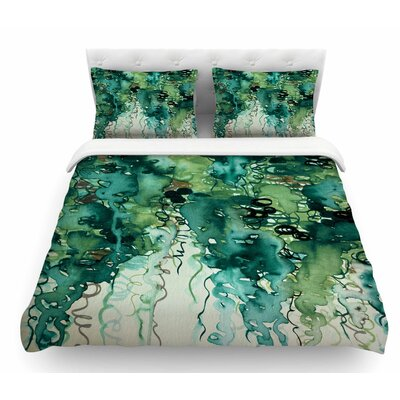 Beauty in the Rain by Ebi Emporium Featherweight Duvet Cover Size: Twin, Color: Emerald Green