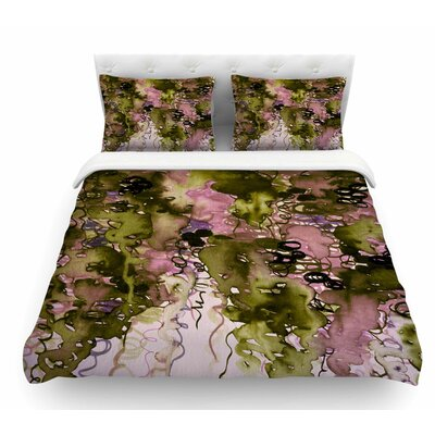 Beauty in the Rain by Ebi Emporium Featherweight Duvet Cover Color: Green/Lavender, Size: King