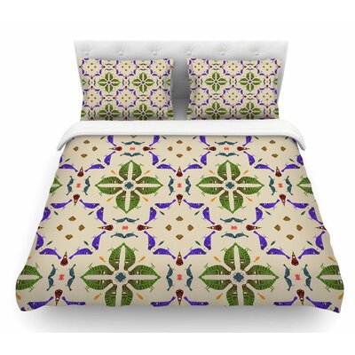 Kissing Budgies by Laura Nicholson Geometric Featherweight Duvet Cover Size: Twin