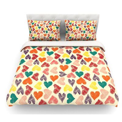 Little Hearts by Louise Machado Featherweight Duvet Cover Size: Queen