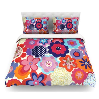 Patchwork Flowers by Louise Machado Featherweight Duvet Cover Size: Queen