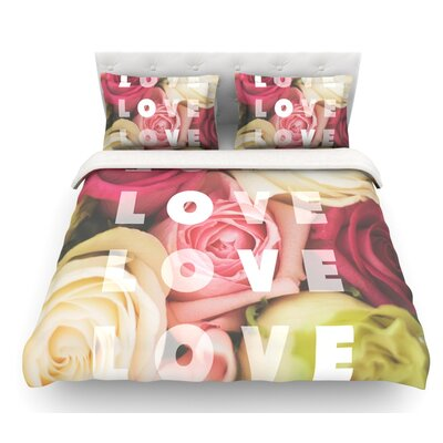 Love Love Love by Libertad Leal Roses Featherweight Duvet Cover Size: Queen, Fabric: Lightweight Polyester