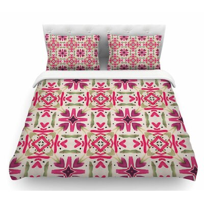 Echinacea Garden by Laura Nicholson Geometric Featherweight Duvet Cover Size: King