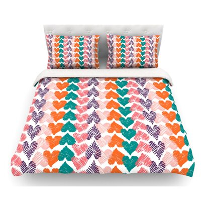 Hearts by Louise Machado Featherweight Duvet Cover Size: King