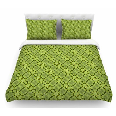 Leafy Lozenges by Laura Nicholson Abstract Featherweight Duvet Cover Size: King