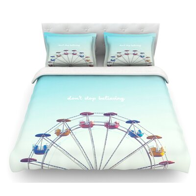 Dont Stop Believing by Libertad Leal Ferris Wheel Featherweight Duvet Cover Size: Twin, Fabric: Woven Polyester