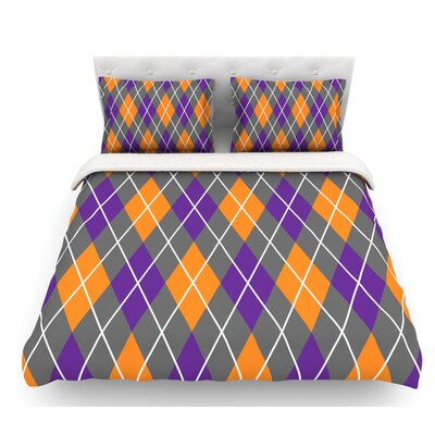 Argyle  Featherweight Duvet Cover Color: Mustard/Gray/Purple, Size: King