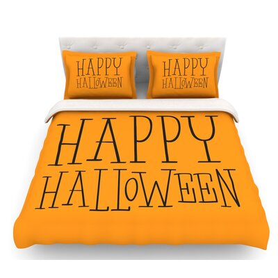 Happy Halloween  Featherweight Duvet Cover Size: Twin, Color: Orange