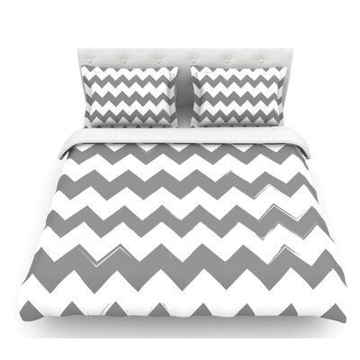 Candy Cane  Chevron Featherweight Duvet Cover Color: Gray, Size: Twin