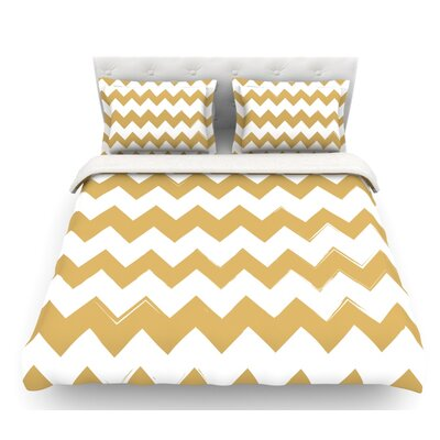 Candy Cane  Chevron Featherweight Duvet Cover Size: Queen, Color: Gold