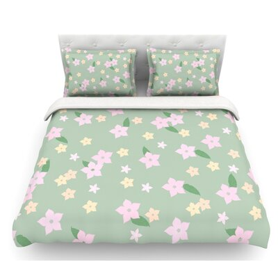 Spring Floral  Featherweight Duvet Cover Size: Queen, Fabric: Lightweight Polyester