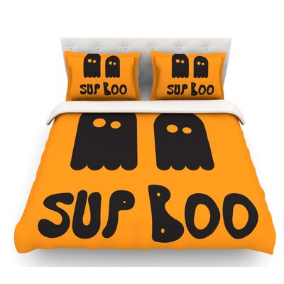 Sup Boo  Featherweight Duvet Cover Size: Queen, Fabric: Woven Polyester
