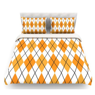 Argyle  Featherweight Duvet Cover Color: Mustard/White, Size: Twin