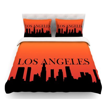 Los Angeles  Featherweight Duvet Cover Size: Queen, Fabric: Lightweight Polyester