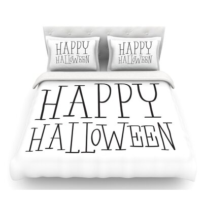 Happy Halloween  Featherweight Duvet Cover Size: Twin, Color: White