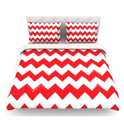 Candy Cane  Chevron Featherweight Duvet Cover Size: Queen, Color: Red