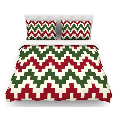 Christmas Gram  Chevron Featherweight Duvet Cover Size: Full/Queen, Fabric: Woven Polyester