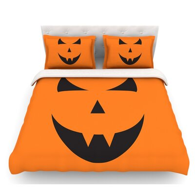 Pumpkin Trick  Featherweight Duvet Cover Size: Twin, Fabric: Light Cotton