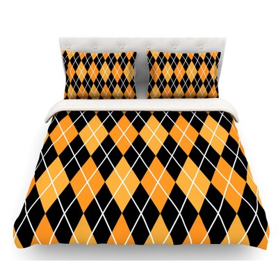 Argyle  Featherweight Duvet Cover Color: Mustard/Black, Size: King