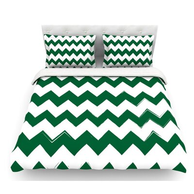 Candy Cane  Chevron Featherweight Duvet Cover Color: Green, Size: Twin