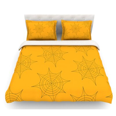 Spiderwebs  Featherweight Duvet Cover Size: Queen, Color: Yellow