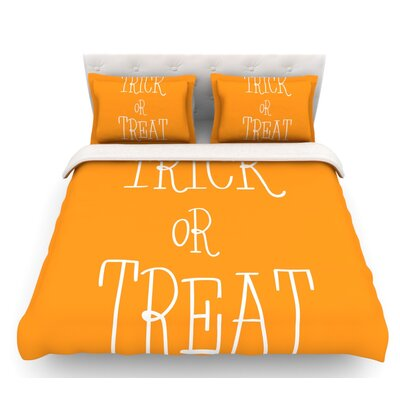Trick or Treat  Featherweight Duvet Cover Color: White, Size: Twin