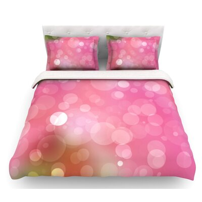 KESS Original Bokeh Featherweight Duvet Cover Color: Pink, Size: King, Fabric: Lightweight Polyester